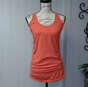 Athleta Orange Ruched Tunic Tank Top